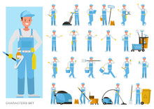 Set Of Janitor Working Character Vector Design. Presentation In Various Action With Emotions, Running, Standing And Walking.