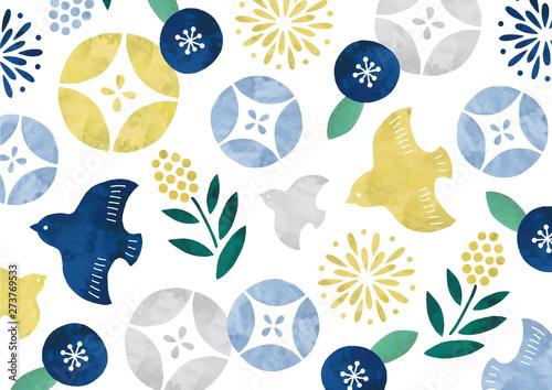 ポップな和柄水彩夏鳥と花 Canvas Print