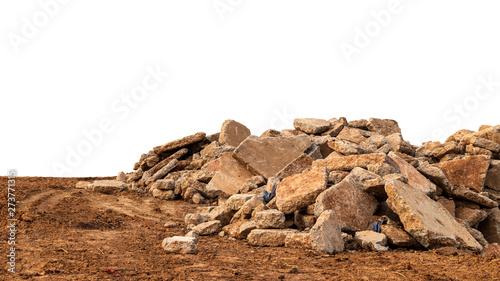 Isolated view of concrete debris piles on the ground. Slika na platnu