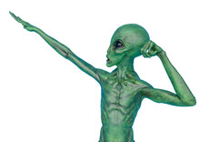 Green Alien On Military Ready To Win In White Background