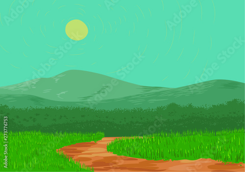 Wall Murals Green coral Dirt road landscape with hills and blue sky