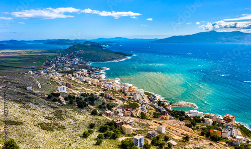 Aerial view of Saranda, Albania Canvas Print