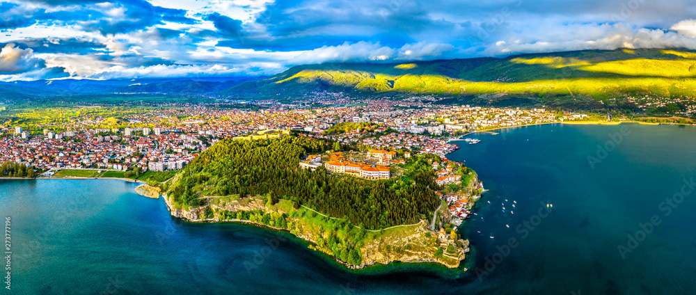 Fototapety, obrazy: Samuels Fortress and Plaosnik at Ohrid in North Macedonia