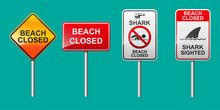 Beach Close Sign Vector Illustration.