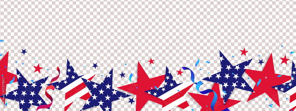 Fototapety, obrazy: Fourth of July background. 4th of July holiday long horizontal border. USA Independence Day Decoration elements - confetti stars in national colors isolated on background.