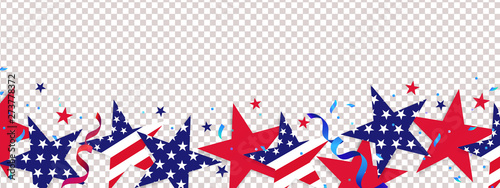 Photo Stands Height scale Fourth of July background. 4th of July holiday long horizontal border. USA Independence Day Decoration elements - confetti stars in national colors isolated on background.