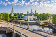 Saint Petersburg. Russia. St. Nicholas Naval Cathedral On The Kryukov Channel.  St. Petersburg Landscape. Neva River. Russian Cities. Petersburg Streets. Petersburg Bridges.