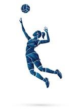 Volleyball Sport Action Cartoon Graphic Vector