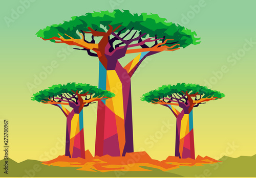 Canvas-taulu baobab tree on wpap popart style
