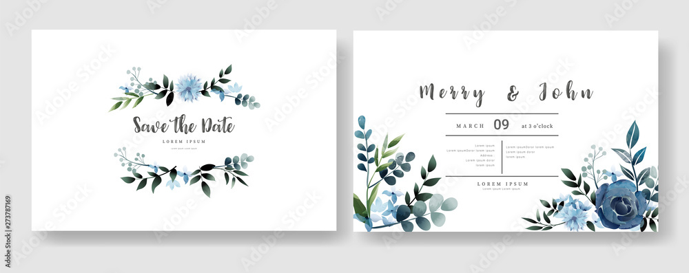 Fototapety, obrazy: Set of Wedding invitation Card,save the date thank you card,rsvp with floral   and leaves,  watercolor style for printing, badge.vector illustration