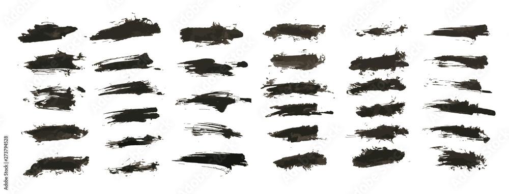 Fototapeta Ink splashes. Vector Brushes, black inked splatter dirt stain splattered spray splash with drops blots isolated grunge silhouette set. Vector collection