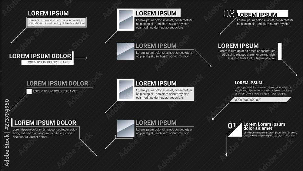 Fototapeta Digital information labels on black background. Callouts titles. Modern banners of lower third for presentation. Vector titles bar. Template for animation of video infographics, presentations