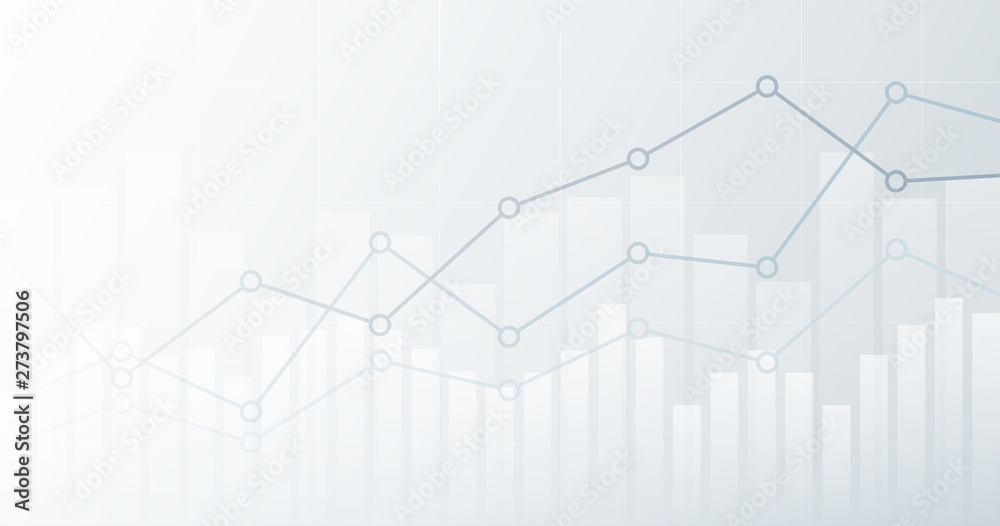 Fototapety, obrazy: Widescreen abstract financial chart with uptrend line graph and candlestick on black and white color background