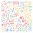 Vector pattern with kindergarten, toy children. Happy children illustration. Drawing on a white background.