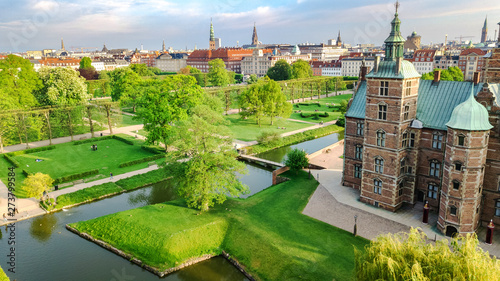 obraz lub plakat Aerial drone view of Rosenborg Slot Castle and beautiful garden from above, Kongens Have park in Copenhagen, Denmark