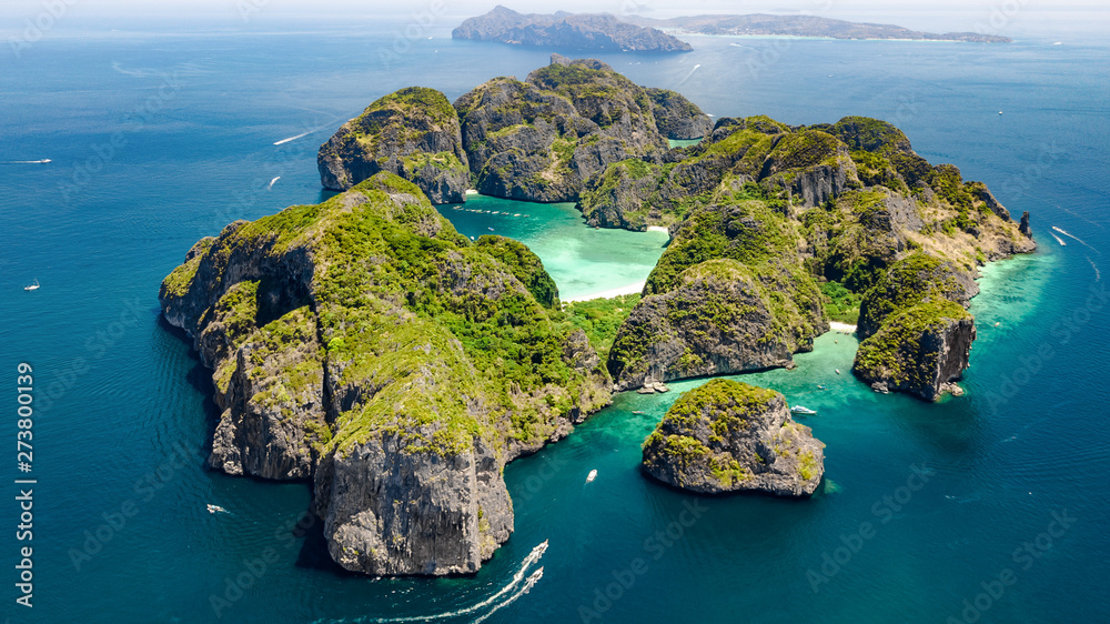 Fototapety, obrazy: Aerial drone view of tropical Ko Phi Phi island, beaches and boats in blue clear Andaman sea water from above, beautiful archipelago islands of Krabi, Thailand