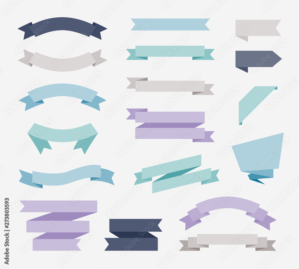 Fototapeta Flat design of labels, ribbon banners, Banner Web Sticker illustration.