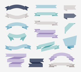 Flat design of labels, ribbon banners, Banner Web Sticker illustration.