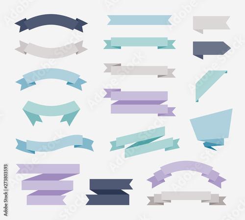 Fotografía Flat design of labels, ribbon banners, Banner Web Sticker illustration
