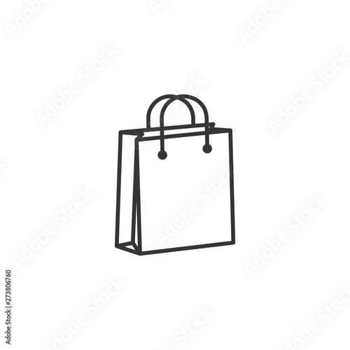 Fototapeta shoping bag icon black color editable. shoping bag symbol Flat vector sign isolated on white background. Simple vector illustration for graphic and web design. obraz
