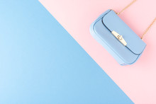 Blue Purse On Background With Copyspace