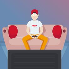 Gamer Boy Playing Video Games ...