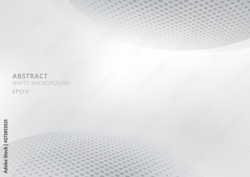 Fototapeta Elegant abstract white and gray gradient background with curved and halftone style. Modern design for report and project presentation template.