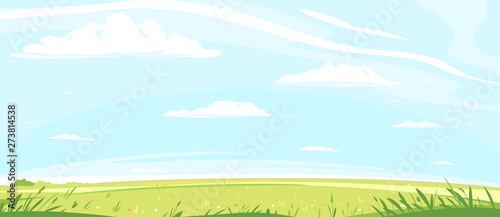 Foto auf AluDibond Licht blau Green lawn with grass and flowers against blue sky with white clouds, summer sunny glades with field grasses and blue sky, freedom landscape illustration