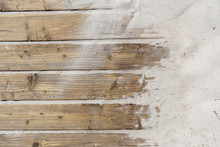 Weathered Wooden Boardwalk On Sand / Aged Beach Brown Wooden Floor Over Summer Sand