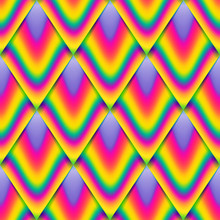 Vector Seamless Pattern, Rainbow Scale, Colorful Endless Background.