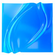 canvas print picture Blue aquamarine gradient folds background. Liquid surface product display backdrop, fluid abstract shape, 3d illustration.