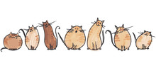 7 Cute Watercolor Cats In 2 Li...