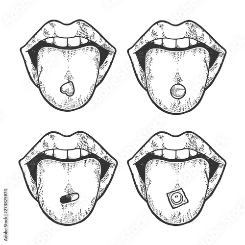 Foto Tongue with drug narcotic pill and LSD stamp sketch engraving vector illustration