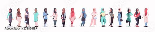 Photo set arabic women in hijab different arab girls wearing headscarf traditional clo