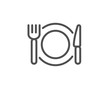 Restaurant food line icon. Dinner sign. Hotel service symbol. Quality design element. Linear style restaurant food icon. Editable stroke. Vector