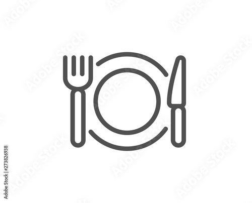Restaurant food line icon. Dinner sign. Hotel service symbol. Quality design element. Linear style restaurant food icon. Editable stroke. Vector - 273826938