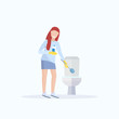 woman scrubbing toilet with scrub brush housewife doing housework cleaning concept female cartoon character full length flat