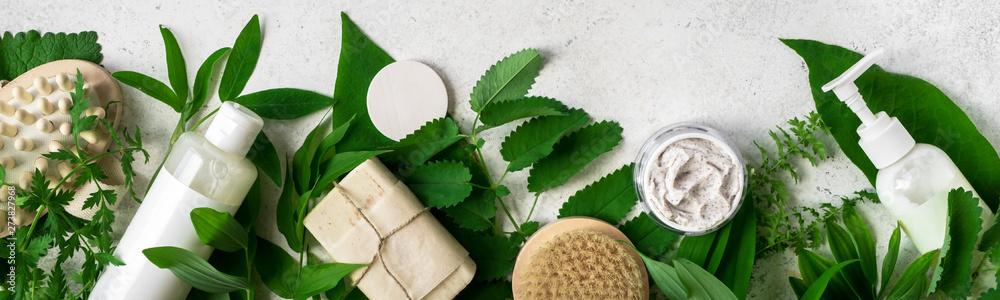 Fototapeta Natural skincare and leaves