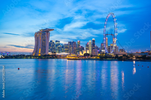Singapore city skyline at twilight with view of Marina Bay Wallpaper Mural