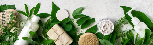 Fototapeta Natural skincare and leaves obraz