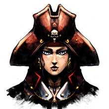 Woman Pirate In A Hat With A Skull, Cute Smirking .