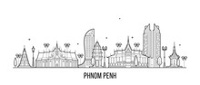 Phnom Penh Skyline Cambodia City Vector Linear Art
