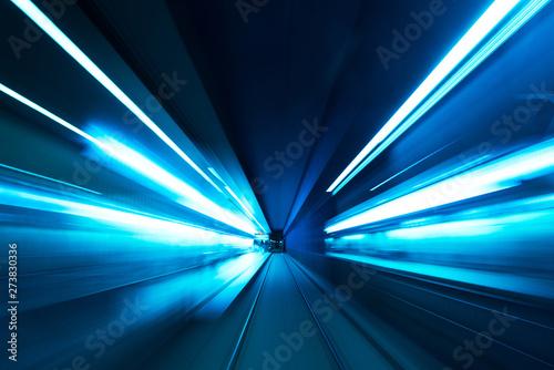 Foto auf AluDibond Eisenbahnschienen Subway tunnel motion speed rail blur