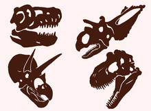 Graphical Vintage Set Of Dinosaur Skulls , Vector Tattoo Illustration