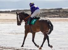 Jockey And Race Horse Running On The Beach