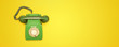 canvas print picture - Old green phone set top view photo, communication concept background