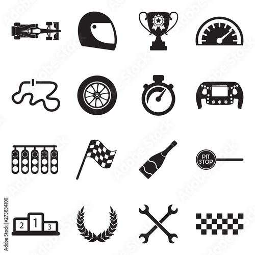 Recess Fitting F1 Formula 1 Icons. Black Flat Design. Vector Illustration.