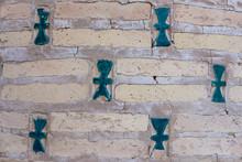 Oriental Blue, Green Tiles In A Brick Wall
