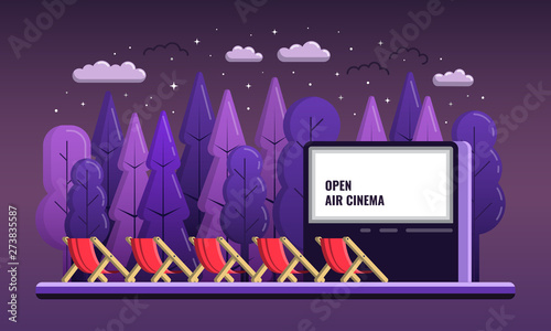 Slika na platnu Vector Open Air Cinema flat Illustration With chairs And Night outdoor