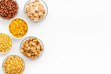Cereals, Oatflakes And Cornflakes For Healthy Breakfast On White Background Top View Mock Up